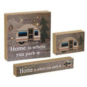 Set of 3 Retro Camper Mini Blocks - Home is Where